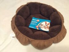 ASPENPET PUFFY ROUND CAT BED OR SMALL DOG BED NEW BROWN