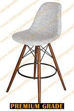 SKDL Replica Eames DSW Kitchen Stool - Textured Light Grey Fabric & Walnut Legs