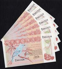 Surinam Lot of 6 pieces X 2 1/2 Gulden Banknote 1985 KM 24B UNC Consecutive Numb