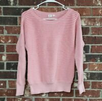 GAP Women's Size XS Pink Ribbed Knit Dolman Sleeve Pull Over Sweater