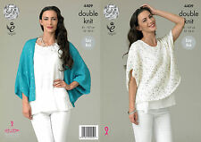 Ladies Loose Baggy Cardigan Top Double Knitting Pattern King Cole Galaxy DK 4409
