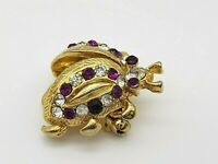 Vintage Lady Bug Beetle Insect Brooch Pin Purple Clear Rhinestones Gold Tone