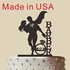 Personalized Superman and bride Cake Topper,Wedding Gift,Acrylic,Made in USA 5''