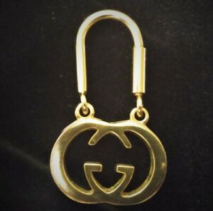 Gucci Keyring Key Chain Fob Gold Color GG Logo Made in Italy