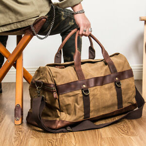 Waterproof waxed canvas leather men travel bag hand luggage large tote vintage