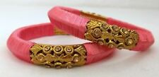 Indian Fashion Red Violet SilkThread Wrapped Kada Women Bangles Size 2.8 Jewelry
