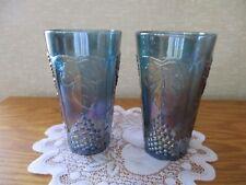 Indiana Harvest grapes Purple/Blue Carnival glass tumblers 12 oz