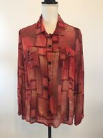 Chico's Blouse Top Size 2 Silk Red Floral Sheer Long Sleeve Button Down