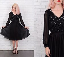 Vintage 70s Sequin Dress Party Cocktail Puff Slv Flowy Full Small S