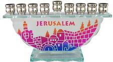 Glass MENORAH ~ ~ ~ ~ ~ Jerusalem design jewish chanukah judaica hanukka menora