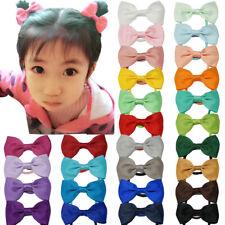 "2x Pair of Girls Hair Bows Hair Pony Clip Bow Ribbon Slides School Accessory 3"""
