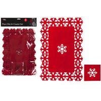 8pc Felt Christmas Dinner Snowflake Place Mat Coaster Set Table Decorations
