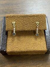 Pretty Dainty 14KT Yellow Gold Natural Sapphire & Diamond Drop Earrings