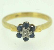 18ct Yellow Gold Sapphire & Diamond Ring Size M 1/2