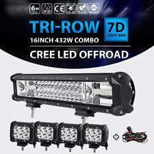 """Tri-row 16 inch 432W+4pcs 4"""" 18W CREE LED Light Bar Offroad Spot Flood Truck ATV"""