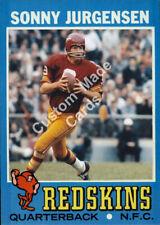 Custom made Topps 1971 Washington Redskins Sonny Jurgensen football card Red