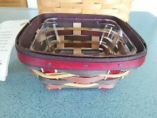 Longaberger 2011 Crimson Hill Dreams Live Here basket & protector set New