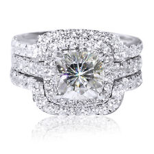 4.00 CTTW 3CT Center Cushion Cut Wedding Band & Engagement Ring Bridal Set