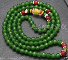China Tibet Tibetan 6mm Green Jade Buddhist Buddha Prayer Beads Mala Bracelet