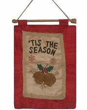 ~~ONE (1) 'TIS THE SEASON WITH ACORNS AND WOOD SNOW FLAKES~CHRISTMAS WALL HANGER