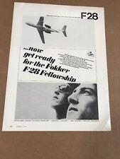 Fokker F28 Fellowship Airplane Jet 1970 Photo Print AD