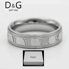 DG Men's Stainless Steel.Silver,Roman numeral Band Rings 8,9,10,11,12 13 + Box