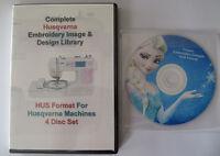 139,877 HUSQVARNA HUS Format EMBROIDERY Designs 4 DISC BOX SET+ Frozen Design CD