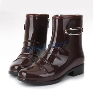 Fashion Mens Rubber Mid Calf Boots Pull On Waterproof Shoes Casual Block Heel sz