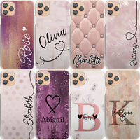 Initial Phone Case Personalised Pink Marble Hard Cover For Huawei P30/P40/Psmart