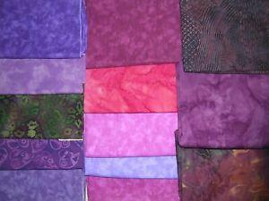 717J Cotton BATIK Quilt Shop Quality Fabric 10 FQ+3 Half YDS PURPLES RED MAGENTA