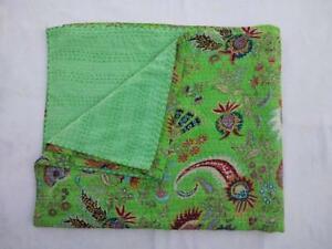 Indian Handmade Twin Size Cotton Kantha Quit Throw Blanket bedspread gudari
