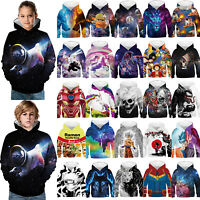 Kids Boy Girl 3D Print Hoodie Pullover Sweatshirt Jumper Jacket Coat Tops Hooded