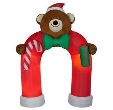 New 11 Ft Inflatable Plush Teddy Bear Archway Christmas Lighted Animated Now Tie