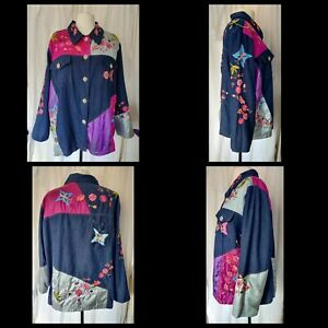 Indigo Moon denim patchwork jacket 1XL shacket embroidery floral butterflies