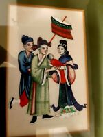 VINTAGE TRADITIONAL FRAMED CHINESE PAINTING ON SILK FAMILY SCENE QUALITY FRAMED