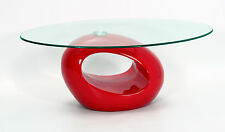 Coffee Table Clear Glass Oval Top Red Gloss Base Retro Designer Table
