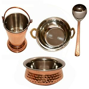 Steel Copper Set of 1 Handi with 1 Kadhai 1 Bucket Serving Dishes Home Tableware