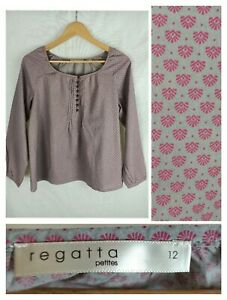 Regatta Petites 12 Blouse Shirt Top Cotton Grey Pink Print Boho