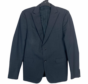 ZZegna Mens Black Striped 100% Wool Fully Lined Blazer Size 52L