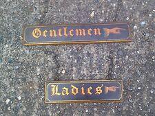 antique wooden ladies and gentlemen toilet signs