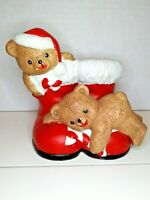 "VTG Christmas House of Lloyd Teddy Bears Red Santa Boots Planter 4"" Candy Canes"