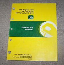 John Deere 637 Regular, 637 Rock, 637 Wheatland Disk Operators Manual  Used  B3