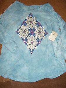 Lucky Brand Girls Shirt (S) Blue Long Sleeve