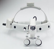 Dental 5W Surgical 2.5X420mm Adjustable Headband Loupe with LED Headlight DY-105