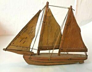 Handmade Wood Miniature  Masts Sailboat - Delicate Wood Sails - TOY