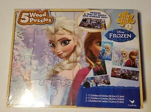 New Disney Frozen 5 Wood Puzzles in Wood Storage Box Ages Elsa Anna Olaf Sven