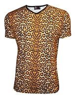 MEN'S LEOPARD ANIMAL PRINT V NECK T-SHIRT TOP GOTH PUNK EMO S, M, L, XL