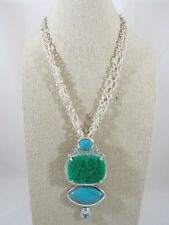 AKR Amy Kahn Russell Sterling Silver Aventurine Turquoise Pendant/Pin Necklace