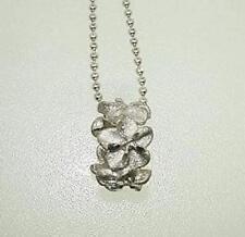 Dc 5 Plumeria Flower Lei Slide Pendant 6Mm Solid 14K White Gold Diamond Cut