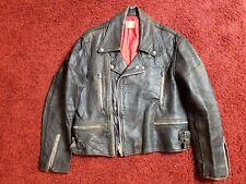 Vintage British Leather Motorcycle Jacket Punk Metal English Aviakit Lewis 1970s